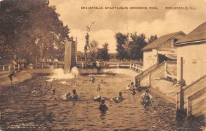 Shelbyville Iowa~Chautauqua Swimming Pool~Bob on High Dive~Slide~1925 Sepia PC