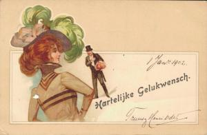 Happy New Year - Vintage Dutch Postcard Woman - Art Nouveau 02.81