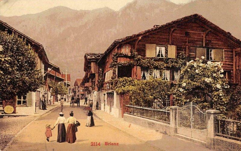 BRIENZ Street Scene Switzerland c1910s Vintage Postcard