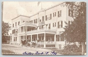 Salem New Hampshire~Hotel Rockingham~People on Porch & Balcony~Car in Front~1906