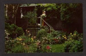 MA Garden Richard Sparrow House PLYMOUTH MASS Postcard Massachusetts