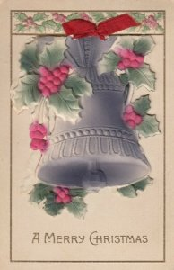 CHRISTMAS, 1900-10s; Embossed Bell and Holly Booklet, Red Bow