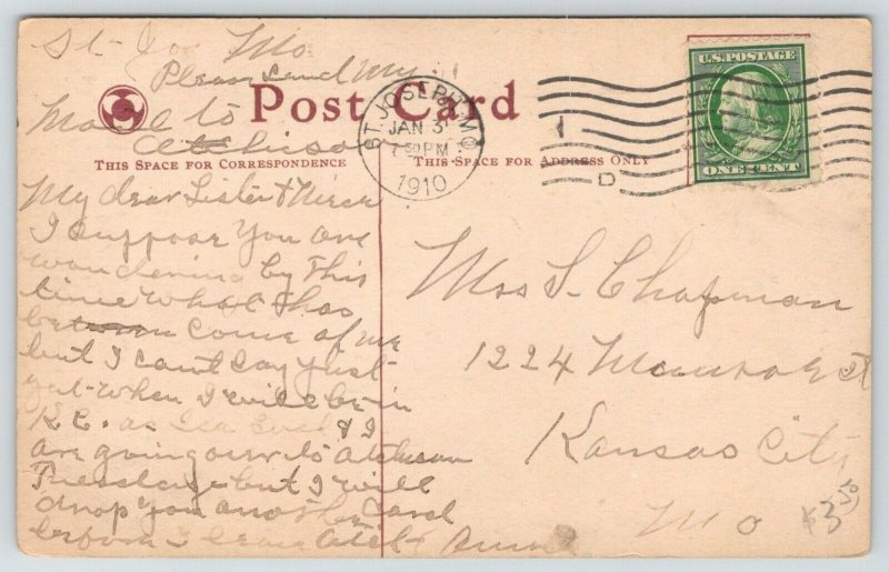 St Joseph MO Cancel~Lovely Lady in Merry Widow Hat~Gents Tag Like Pups~1910 PC