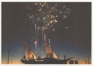 Pirate Silhouette Ravers On Ship Firework Display German Postcard
