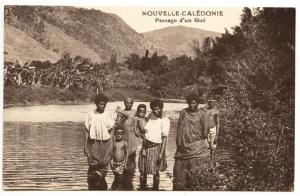 New Caledonia Noumea Passage d'un Gue People Postcard