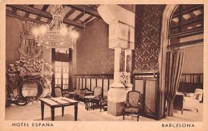 Spain Old Vintage Antique Post Card Hotel Espana Barcelona Unused