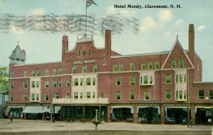 NH - Claremont. Hotel Moody  (excessive postal ink on front)