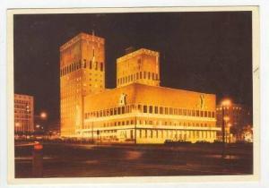OSLO, Exterior Night View, City Hall, Norway, PU-1956