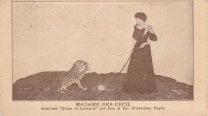 Bostock Jungle animal Show Female Leopard Trainer , SHEFFIELD , UK , 1917
