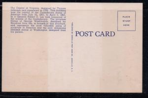 Virginia colour postcard State Capitol & Washington Statue Richmond unused
