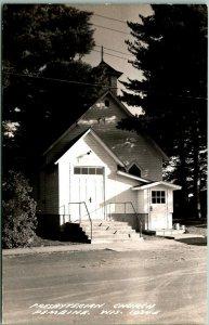 PEMBINE, Wisconsin RPPC Real Photo Postcard Presbyterian Church Street View
