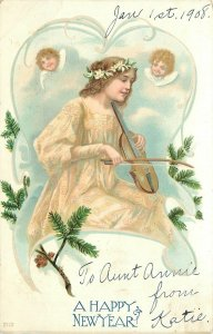 New Year~Lady Plays Violin On Knee~Cherubs Listen~Clouds~Pine Cone Art Nouveau