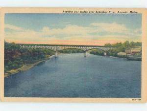 Unused Linen BRIDGE SCENE Augusta Maine ME H8135@