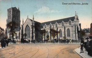 Tower and Churches, Dundee, Scotland, Early Postcard, Used in 1916