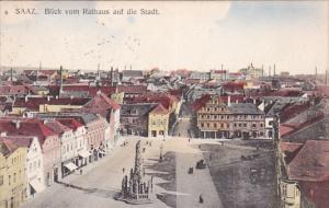 SAAZ. Blick vom Rathaus auf die Stadt , Czech Republic , PU-1921
