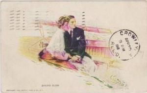 H.C. Christy: Sailing Close Couple Sitting Side by Side on a Sailboat, 1910