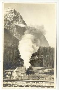 Mt Stephen Field B.C. Steam Railroad Train Engine RPPC Real Photo Postcard