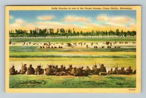 Camp Shelby MS-Mississippi, Target Rifle Range, Soldiers WWII Era Linen Postcard