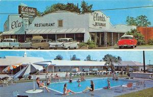 Santee SC Clark's Motel & Drive-In Restaurant Old Cars Postcard