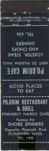 Plymouth, Mass/MA Matchcover, Pilgrim Restaurant & Grill
