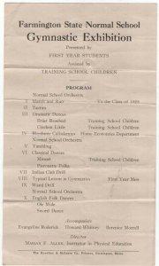 1928 Flyer Announcing Farmington State Normal School Gymnastic Exhibition