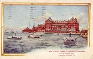 1917 VIEW OF HOTEL CHAMBERLIN from Hampton Roads, FORTRESS MONROE, VA.