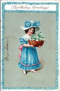 1907 Pretty Victorian Girl Birthday Greetings Germany Embossed Postcard IP