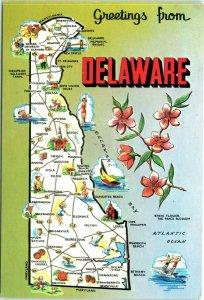 Postcard Delaware DE State Map Pictoral Welcome Greetings Vintage VTG D19
