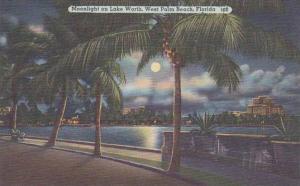 Florida West Palm Beach Moonlight On Lake Worth