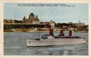 Ocean Liner Facing Chateau Frontenac, Quebec, Canada, PU-1948