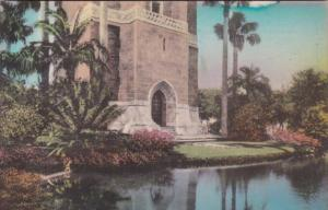 Florida Lake Wales Entrance To Singing Tower From Across The Moat Handcolored...