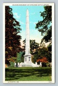 Lafayette IN-Indiana, Soldiers Monument, Tippecanoe Battle, Vintage Postcard
