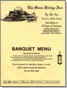 Vintage Stone Bridge Inn Menu, Tiverton, Rhode Island/RI