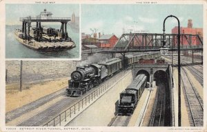 Detroit Michigan River Tunnel and Train Ferry Vintage Postcard AA20152