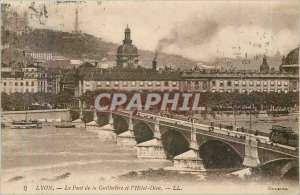 Old Postcard Lyon Guillotiere Bridge and the hotel Dieu