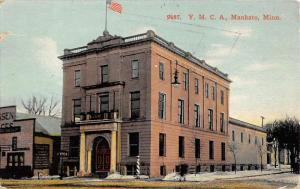 Mankato Minnesota YMCA Building Street View Antique Postcard K94699