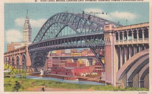 CLEVELAND, Ohio, PU-1937; High Level Bridge Looking East Showing Terminal Tower