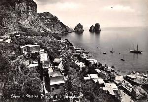 Italy Old Vintage Antique Post Card Capri Marina Piccola e I Faraglion 1954 M...