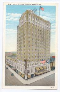 Reading PA Hotel Abraham Lincoln Vintage Curteich Postcard