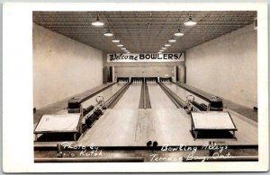 TERRACE BAY Ontario Canada RPPC Real Photo Postcard Bowling Alleys 1958 Cancel