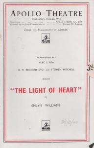 The Light Of Heart Angela Baddeley Romance Apollo London Theatre Programme