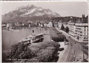 Switzerland Luzern Schweizerhofquai mit Pilatus 1946