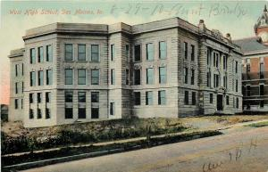 Des Moines Iowa~West High School~Grey Brickwork~1910 Postcard