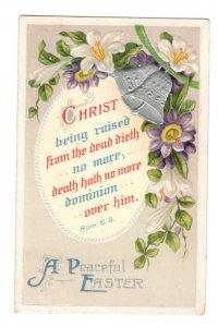 Christ Being Raised, A Peaceful Easter, Vintage Embossed  Postcard Used