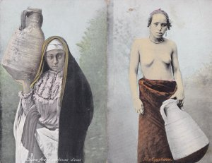 Nude Egyptian Water Carrier Risque Antique 2x Postcard