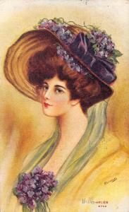 Reynolds~Helen Lovely Lady With Hair Up in Hat~Violets Flowers~Lime Streamers