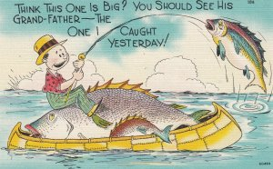 Exaggeration Fishing Comic Postcard , 30-40s : #4