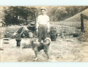 Pre-1920 rppc MAN WITH DOG Whiskey Run - Quaker City Ohio OH i7117