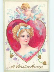 Pre-Linen valentine CUPID FLIES OVER PRETTY ART NOUVEAU GIRL HJ2666