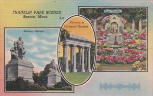 Massachusetts Boston Statuary Groups Rose Garden & Entrance To Zoological...